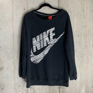 Black Nike Logo Long Crew Neck Sweatshirt